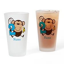 Personalized Monkey Boy 2nd Birthday Drinking Glas