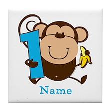 Personalized Monkey Boy 1st Birthday Tile Coaster