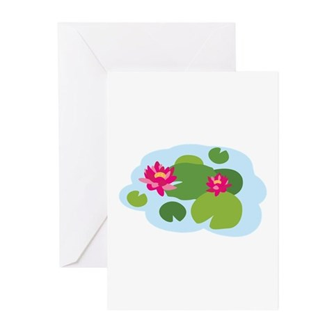 Lotus Flower Water Lily Greeting Cards