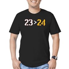 23 Is Greater Than 24 Men's Fitted T-Shirt (Dark)