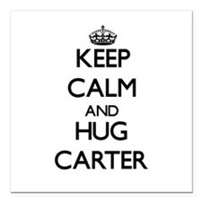 "Keep calm and Hug Carter Square Car Magnet 3"" x 3"""