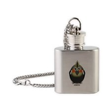 Female Grey Cockatiel Flask Necklace