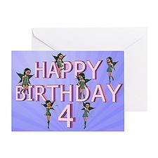 4th birthday card with Flower fairies Greeting Car
