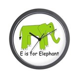 E is for Elephant Wall Clock