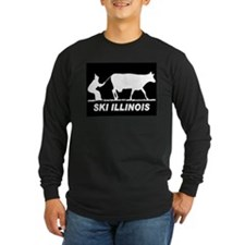 SKI ILLINOIS BLACK Long Sleeve T-Shirt