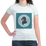 Longhaired Dachshund Jr. Ringer T-Shirt