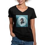 Longhaired Dachshund Women's V-Neck Dark T-Shirt