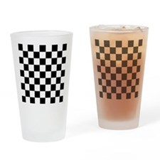 Black and white Check Drinking Glass