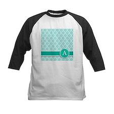 Letter A turquoise quatrefoil monogram Baseball Je