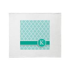Letter K turquoise quatrefoil monogram Throw Blank