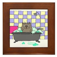 Cat Bath Framed Tile