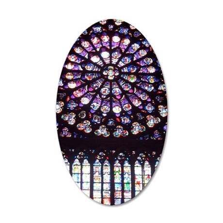 Notre Dame Window 35x21 Oval Wall Decal