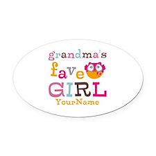 Grandmas Favorite Girl Personalized Oval Car Magne