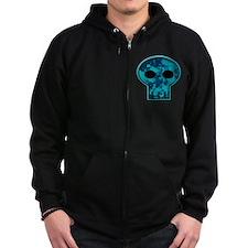 Blue Skull Zip Hoodie