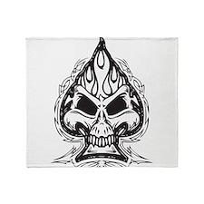 Skull Spade Throw Blanket
