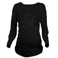 Skull and Bones Long Sleeve Maternity T-Shirt