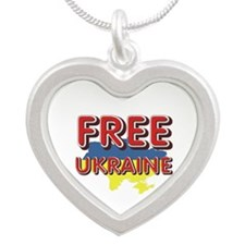 Free Ukraine Silver Heart Necklace