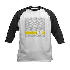 Letter I grey quatrefoil monogram Baseball Jersey