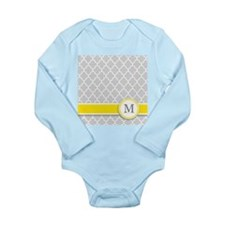 Letter M grey quatrefoil monogram Body Suit
