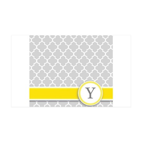 Letter Y grey quatrefoil monogram Wall Decal