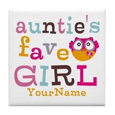 Personalized Aunties Favorite Girl Tile Coaster
