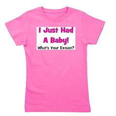 ijusthadababy_whatsyourexcuse_pink.png Girl's Tee