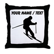 Custom Skier Silhouette Throw Pillow