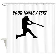Custom Baseball Batter Silhouette Shower Curtain