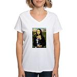 Mona & her Boston Ter Women's V-Neck T-Shirt