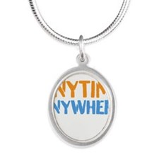 Anytime, Anywhere Silver Oval Necklace