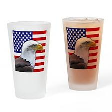 USA flag bald eagle Drinking Glass