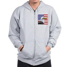 USA flag bald eagle Zip Hoodie