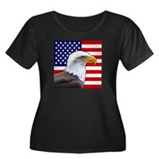 USA flag bald eagle Plus Size T-Shirt