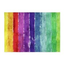 Geometric Stripes Watercolor 5'x7'Area Rug