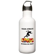 Vegan Athlete Man Running on Fruit Water Bottle