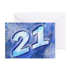 21st birthday card with blue fireworks Greeting Ca