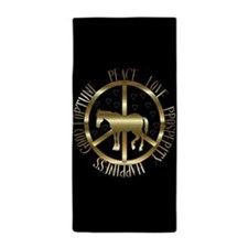 Golden Peace Horse Beach Towel