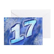 17th birthday card with blue fireworks Greeting Ca