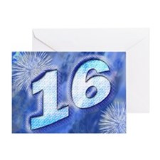 16th birthday card with blue fireworks Greeting Ca