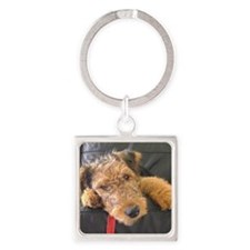 Earnest the Airedale Square Keychain