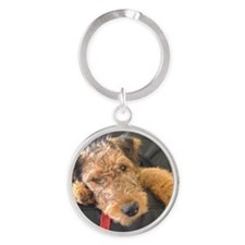Earnest the Airedale Round Keychain