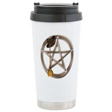 Silver Wiccan Pentacle and Broom Travel Mug