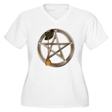 Silver Wiccan Pentacle and Broom Plus Size T-Shirt
