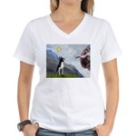 Creation of a Boston Ter Women's V-Neck T-Shirt