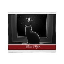 British Shorthair Gazing at Christmas Star Throw B
