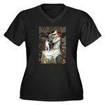 Ophelia & Boston Terrier Women's Plus Size V-Neck