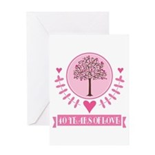40th Anniversary Love Tree Greeting Card