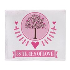 38th Anniversary Love Tree Throw Blanket