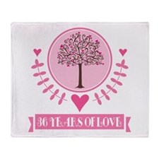 36th Anniversary Love Tree Throw Blanket
