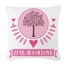 27th Anniversary Love Tree Woven Throw Pillow
